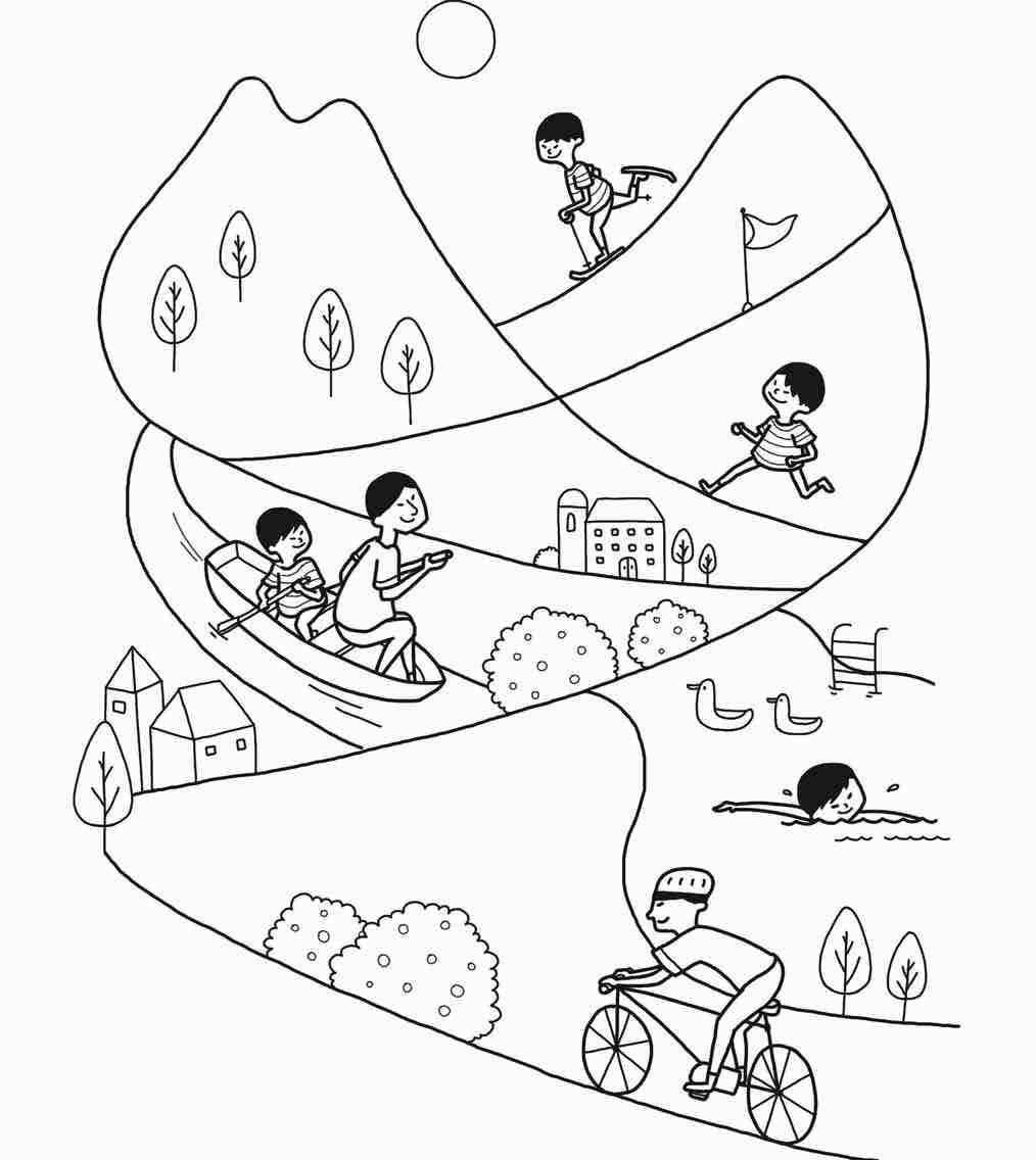 小孩骑自行车简笔画-儿童画骑单车简笔画/儿童骑简画