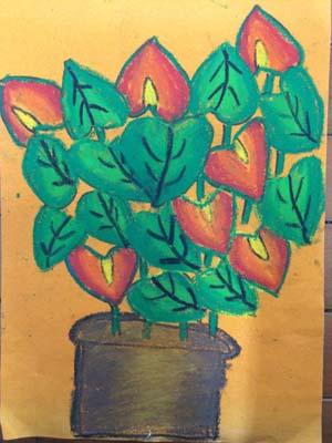四年级《植物写生》彩砂画作品欣赏